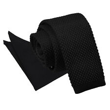 DQT Knit Knitted Plain Black Casual Men's Skinny Tie Handkerchief Set