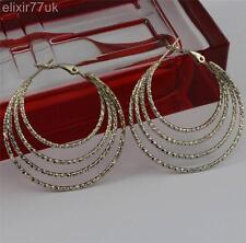 Nuevo par de plata chapado en pendientes de aro círculo señoras Aros Pendiente Chic Regalo del Reino Unido