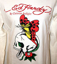 NWT ED HARDY Christian Audigier LONG SLEEVE SHIRT Butterfly Skull Graphic Tee L