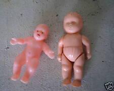 2 Vintage Plastic Miniature Dolls One Jointed Look