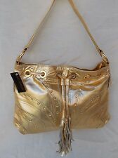 New Women's Ohh Ashley Genuine Leather Drawstring Shoulder Handbag Gold Foil