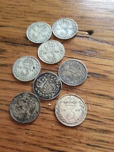 8 SILVER 3D BRITISH COINS - VARYING CONDITIONS 1892,1898,1900,1911,1914,1918x3.
