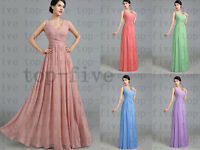 A7 Chiffon TWO shoulder straps Wedding Bridesmaid Prom Evening Dress SIze  6-18+