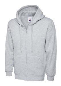 UC504 Adults Classic Full Zip Hooded Sweatshirt Grey Large