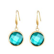 Shiny Emerald Green Crystal Gold Hook Dangling Drop Women Gift Earrings Lady