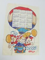 Vintage 1985 Kellogg's Rice Krispies Calendar Kitchen Towel Snap Crackle Pop