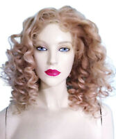 REAL Human Hair Silk Top Remy Remi Indian Full Lace Wig Blonde Curly Wavy Soft