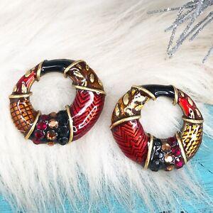 Chico's Chicos Red Black Rhinestone Enamel Crystal Post Hoop Earrings Holiday