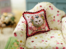 White Kitty & Roses 1:12 Scale Miniature Pillow For Dollhouse