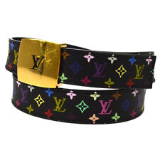 Auth LOUIS VUITTON Saint-cure LV Cut Buckle Belt Multi-color Canvas BT15579