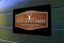 Personalizzato Lodge Cabina Vacanze Casa Effetto Legno Insegna A4 Metallico