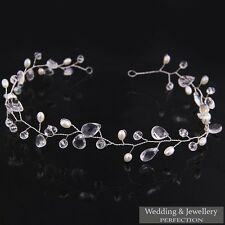 Bridal Flower Hair Tiara Diamante Crystal Pearl Wedding Clip Comb Headband Prom