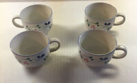 4 Allegro Stoneware Hearthside Tea Coffee  Cups Mug Floral Pink & Blue Flowers