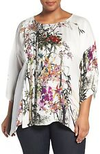 NEW NWT Citron Clothing Plus Size White Floral 100% Silk Fukure Tunic Blouse 1X
