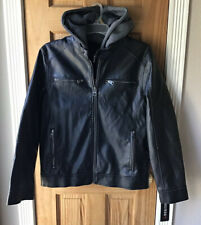 NWT GUESS Faux-Leather Black Moto Jacket Men's M with remove-able hood Coat $195