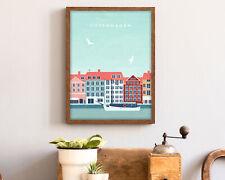 Copenhagen Travel Poster, Modern Wall Art Print, A1 A2 A3 A4