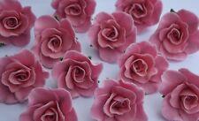 6 edible ROSES 3cm cake decorations CUPCAKE TOPPER wedding BIRTHDAY christening