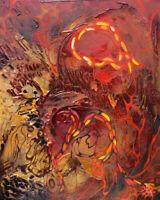 "UNIKAT Moderne Strukturgemälde "" GOLD & RED PASSION "" Kunst von Bozena Ossowski"