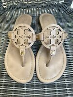 Tory Burch Miller Vachetta Tan Leather Sandals Size 7.5 Gold Hardware MSRP $198