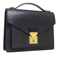 LOUIS VUITTON MONCEAU 28 2WAY HAND BAG SATCHEL SR0065 BLACK EPI M52122 AK38687b