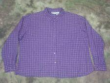 Faded Glory Plus 26W/28W 100% Cotton Shirt Purple Plaid Silver Metallic Stripe