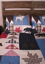Queen Quilt Set Bear Moose Wilderness Mountain Retreat Cabin Bedding