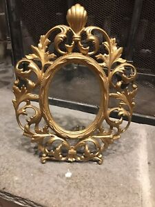 Antique Gold Gilt Cast Iron Rococo Oval Tabletop Easel Picture Frame Beautiful