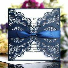 Invitation Card Wedding Decor Party Supplies Square Hollow Laser Cut With Ribbon