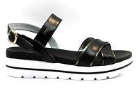 Sandali scarpe da donna basso Nero Giardini P908213D con cinturino taglia 39