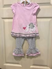 Starting Out 2 Piece Elephant Pink And Gray Outfit Size 18 Month