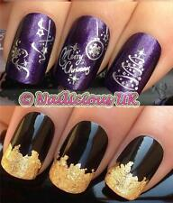 NAIL ART CHRISTMAS SET 801 TREE DECORATIONS WATER TRANSFERS/STICKERS & GOLD LEAF