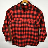 Vintage Woolrich Mens Large Red Wool Buffalo Plaid Long Sleeve Flannel Shirt