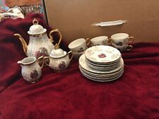 Vtg Porcelain Coffee Set Gold Victorian Couple Sterling China Japan 23 Pc Nice