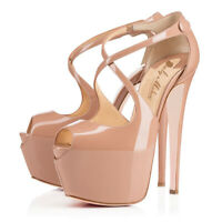 Onlymaker Women's High Heel Platform Stiletto Ankle Crisscross Strap Sandals