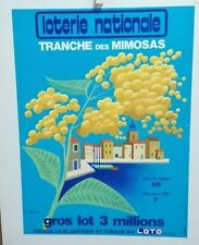 AFFICHE ANCIENNE TRANCHE DES MIMOSAS LOTERIE NATIONALE FIX MASSEAU