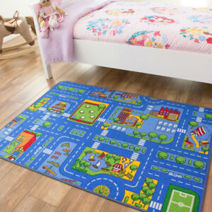 Play Town Village Roads Kids Mats Cheap Small Large Street Cars Childrens Rugs