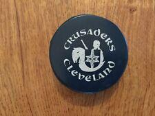 Cleveland Crusaders WHA blue puck Biltrite vintage puck, rare, Gerry Cheevers