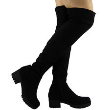 LADIES WOMENS THIGH HIGH OVER THE KNEE CHUNKY HEEL PLATFORM STRETCH BOOTS SIZE