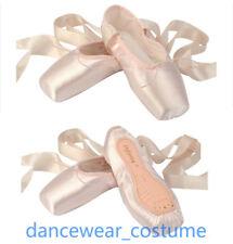 Professional Satin Ballet Pointe Shoes & Ribbon Ladies Kids Dance Toe Shoe US3-9