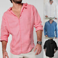 Mens Hooded T-Shirt Hoodies Casual Long Sleeve Shirts Slim Fit Linen Tops Blouse