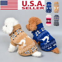 US Pet Dog Cat Knit Jacket Sweater Puppy Coat Clothes Small Warm Costume Apparel