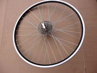"26"" Alloy Black Mountain Bike Wheels MTB Shimano 6 / 7 Speed freewheel >>BLACK<<"