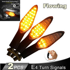2PCS Amber Motorcycle Turn Signals Light E4 Mark Built Relay Flowing Flash Light