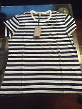 New Authentic Burberry Sailor Striped Navy Blue Knight Logo T-shirt L $175