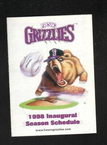 Fresno Grizzlies--1998 Pocket Schedule--Pepsi--Giants Affiliate