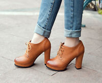 Retro Brogue Round Toe Womens Block High Heel Lace Up Casual Shoes Platform Hot
