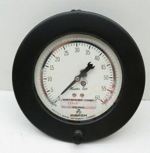 """Marsh 210-3 Pressure Gauge 0-60PSI 4-1/2"""" Dia"""