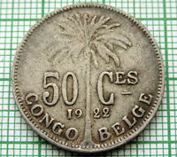 BELGIAN CONGO ALBERT I 1922 50 CENTIMES, FRENCH TEXT