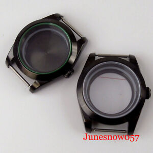 for NH35 NH36 39mm Black Automatic Watch Case Seeing /Metal Back Green Edge