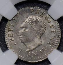 NG0329 Haiti 1817 AN 14 25 Centimes silver  NGC MS 64 rare in this grade
